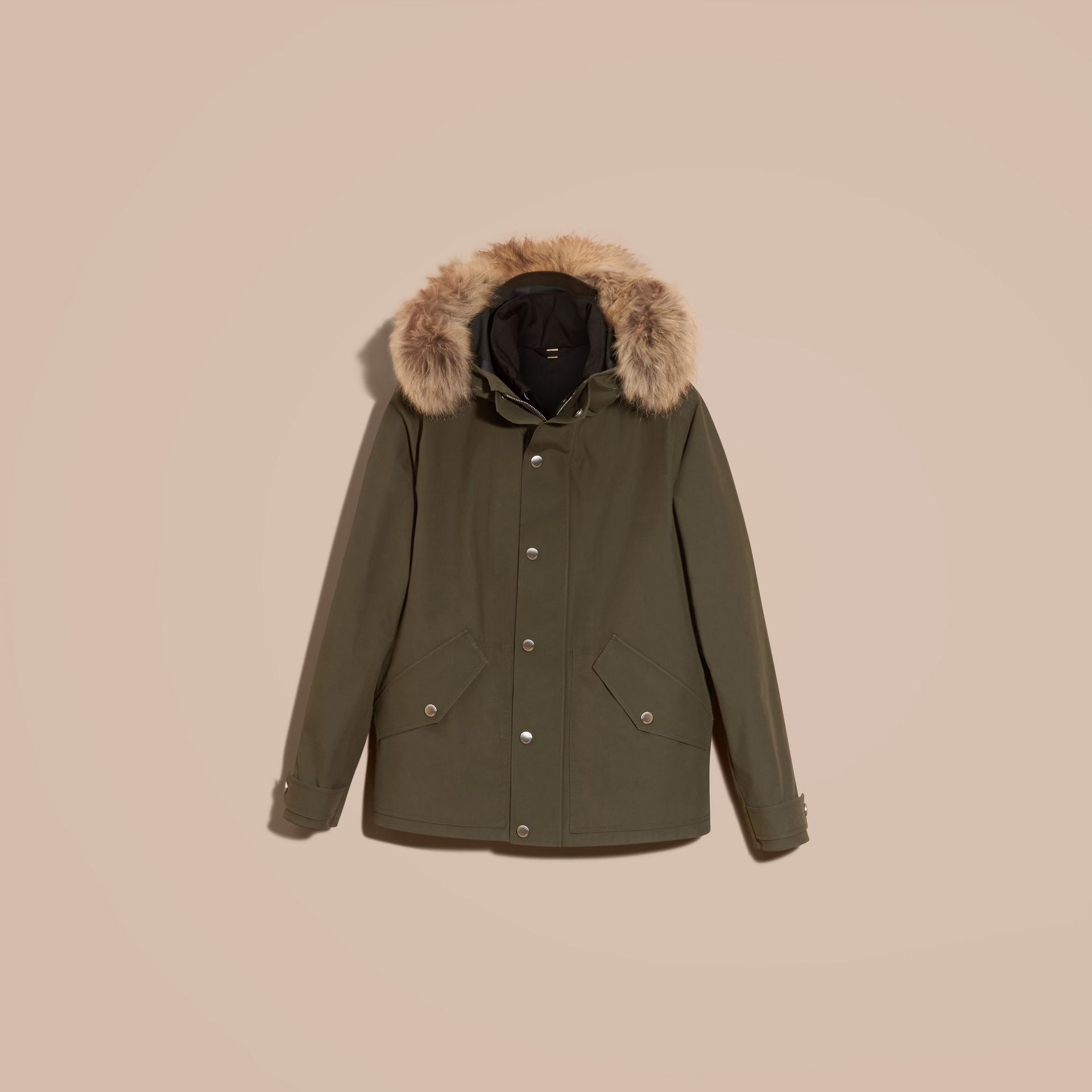 Dark olive Bonded Cotton Parka Coat with Down-filled Warmer - gallery image 3