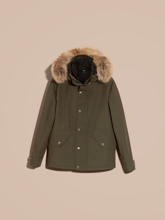 Dark olive Bonded Cotton Parka Coat with Down-filled Warmer - cell image 2