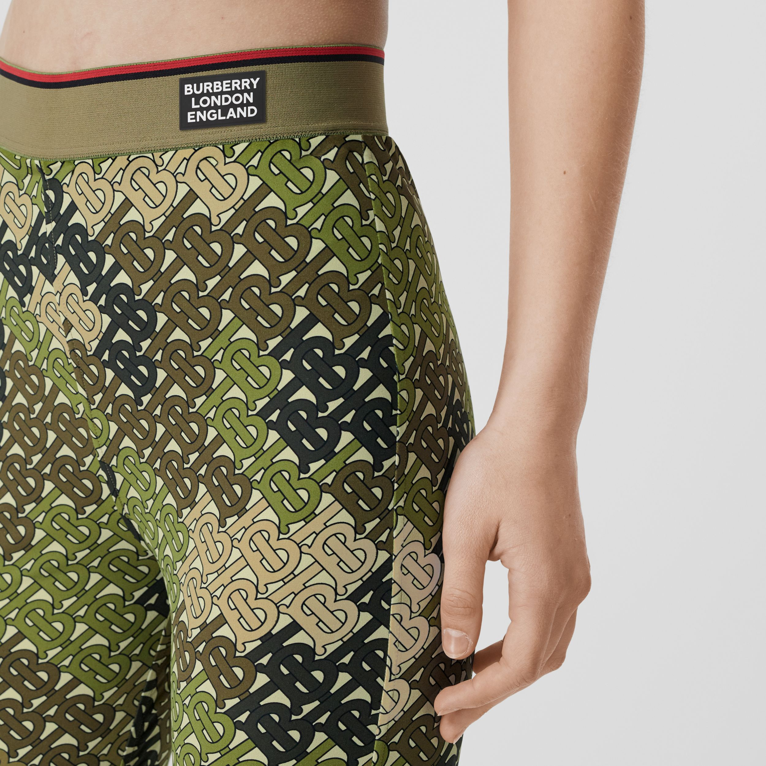 Monogram Print Stretch Jersey Leggings in Khaki Green - Women | Burberry - 2