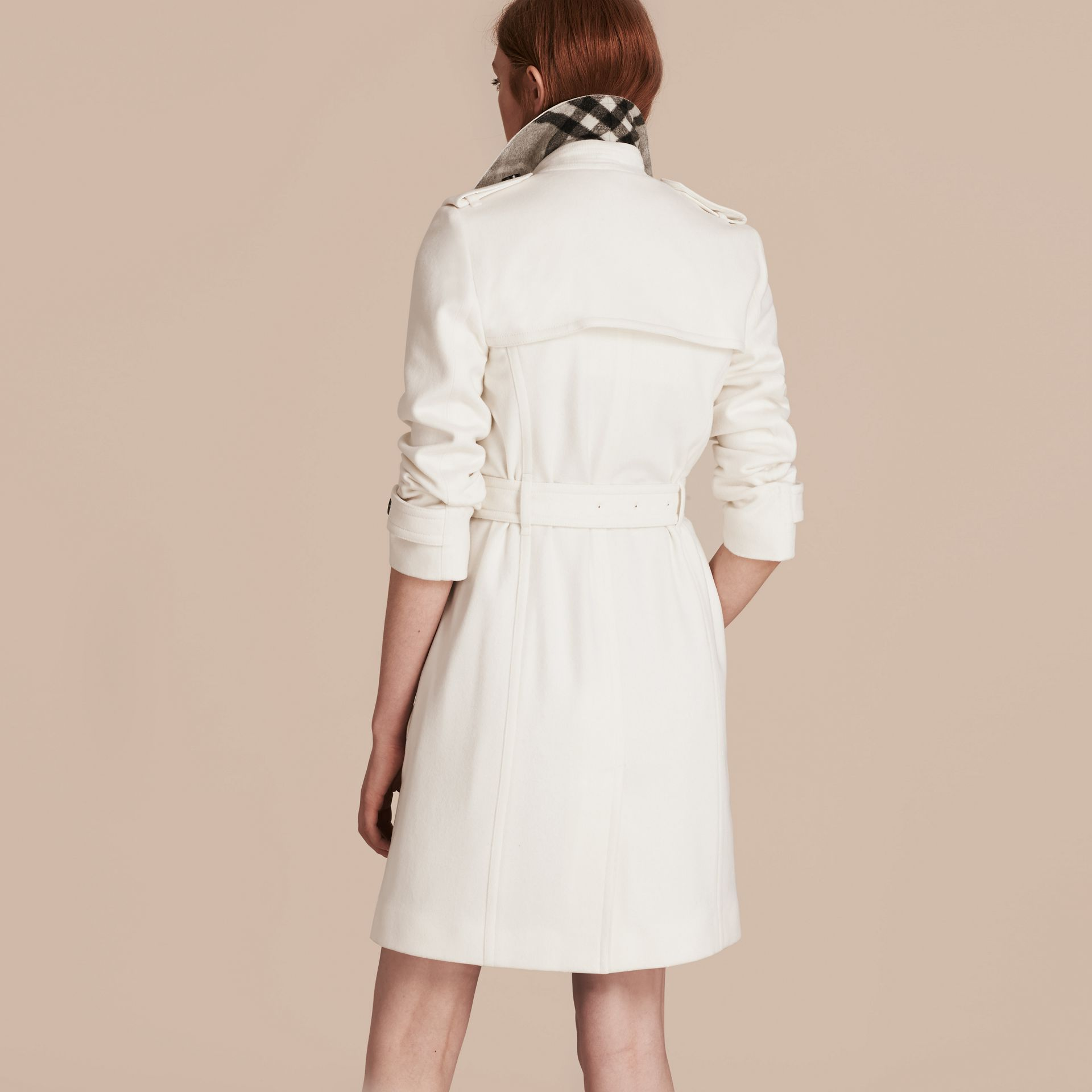Blanc Trench-coat portefeuille en cachemire Blanc - photo de la galerie 3