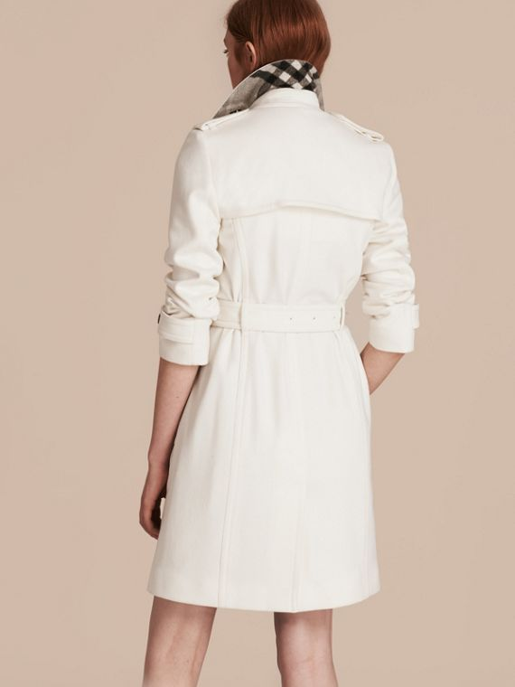 White Cashmere Wrap Trench Coat White - cell image 2
