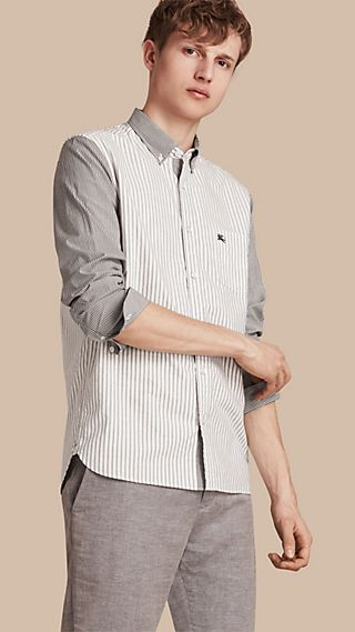 Panelled Striped Cotton Shirt