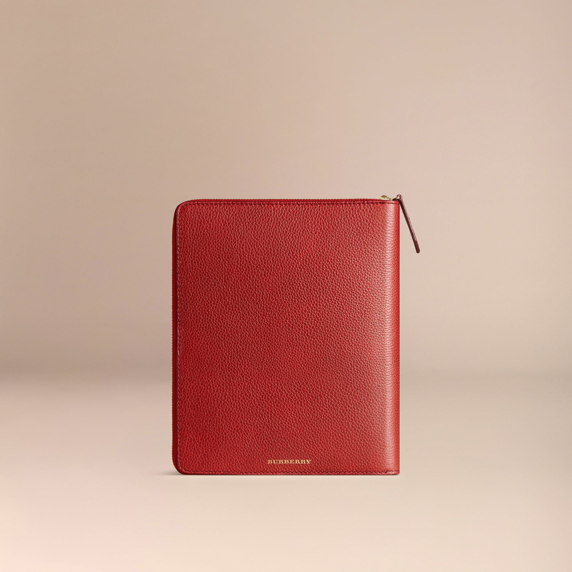 Ziparound Grainy Leather A5 Notebook in Parade Red | Burberry - gallery image 4