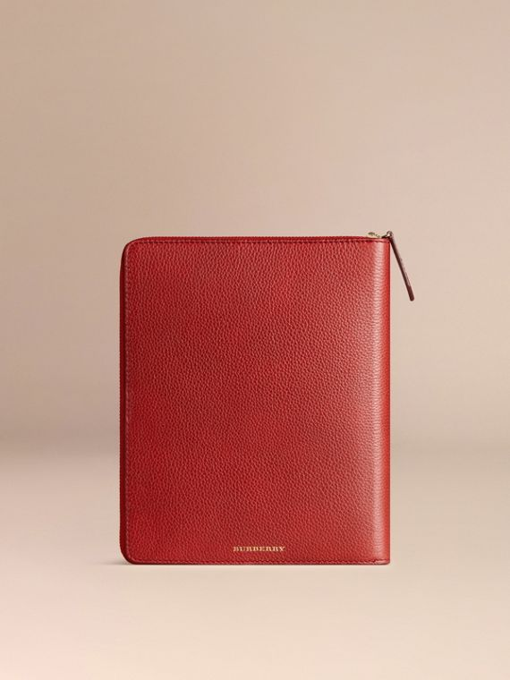 Ziparound Grainy Leather A5 Notebook in Parade Red | Burberry - cell image 3