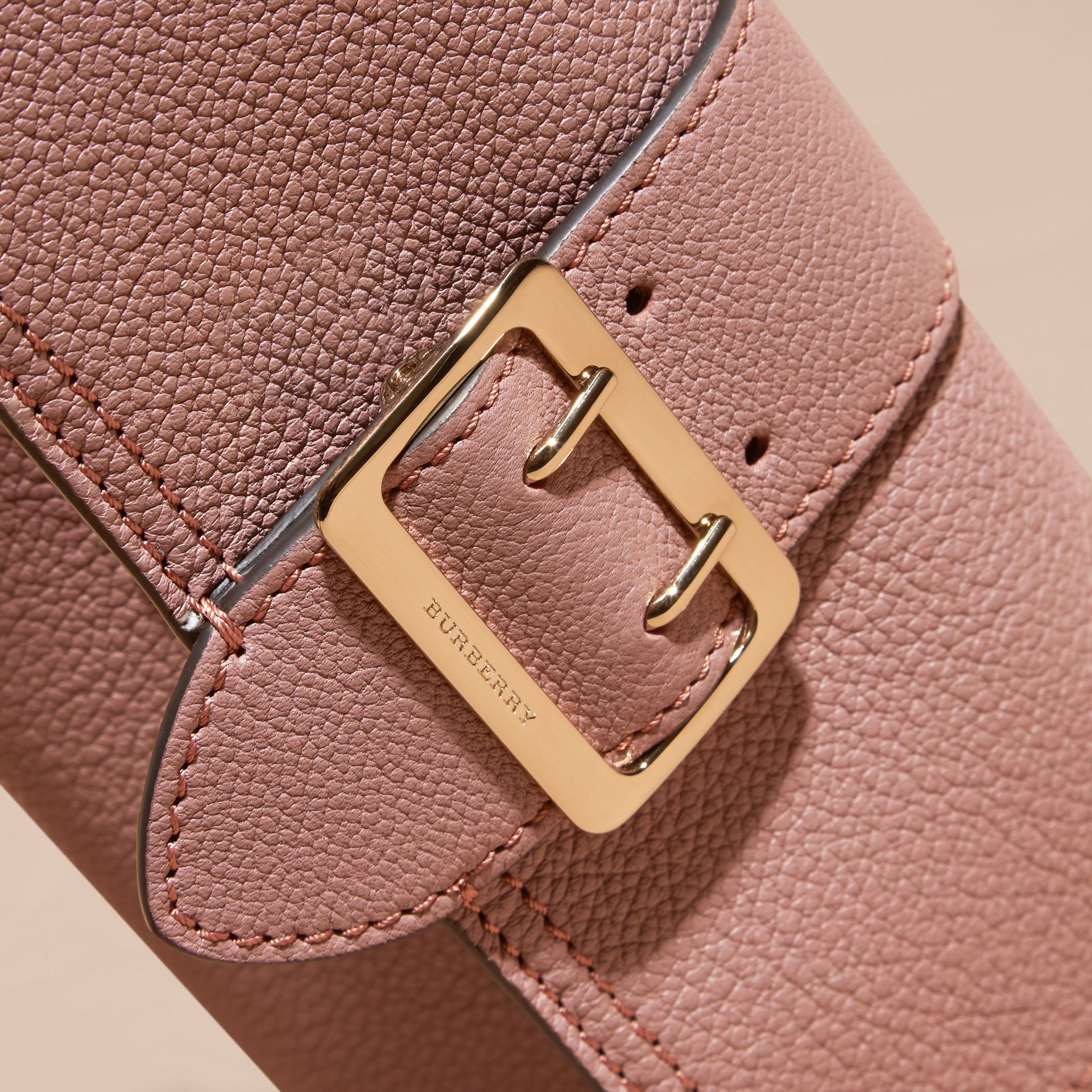 Textured Leather Continental Wallet in Dusty Pink - Women | Burberry - gallery image 3