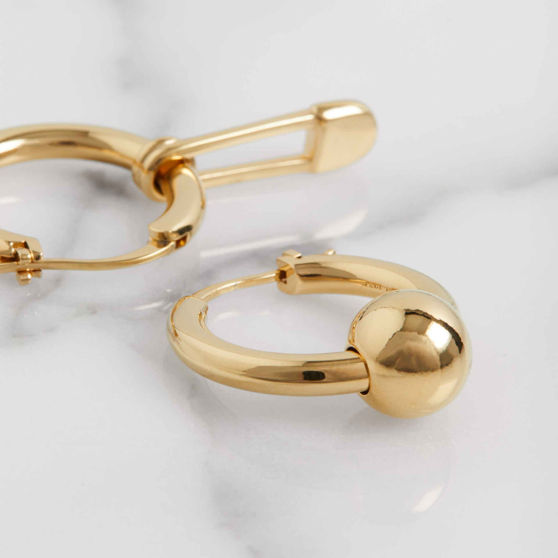 Kilt Pin and Charm Gold-plated Hoop Earrings in Light - Women | Burberry - gallery image 1
