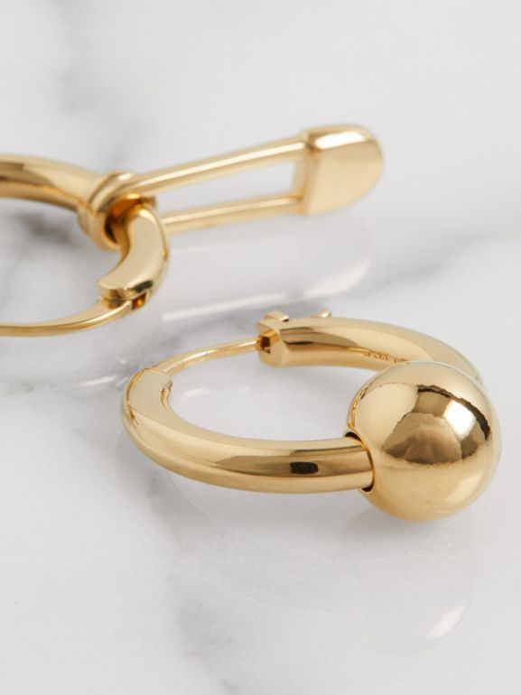 Kilt Pin and Charm Gold-plated Hoop Earrings in Light - Women | Burberry United States - cell image 1
