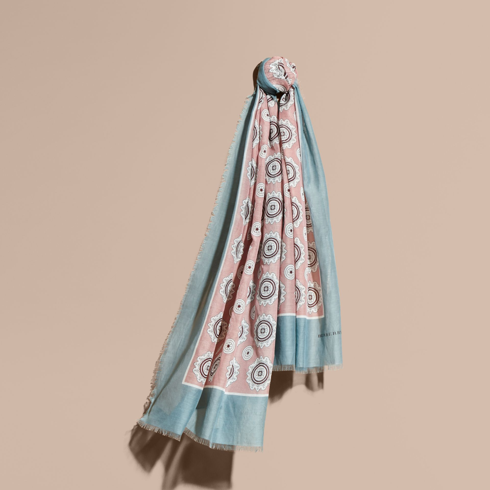 Pyjama Print Cotton Silk Scarf in Chalk Pink - gallery image 1