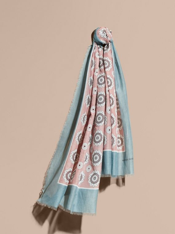 Pyjama Print Cotton Silk Scarf Chalk Pink
