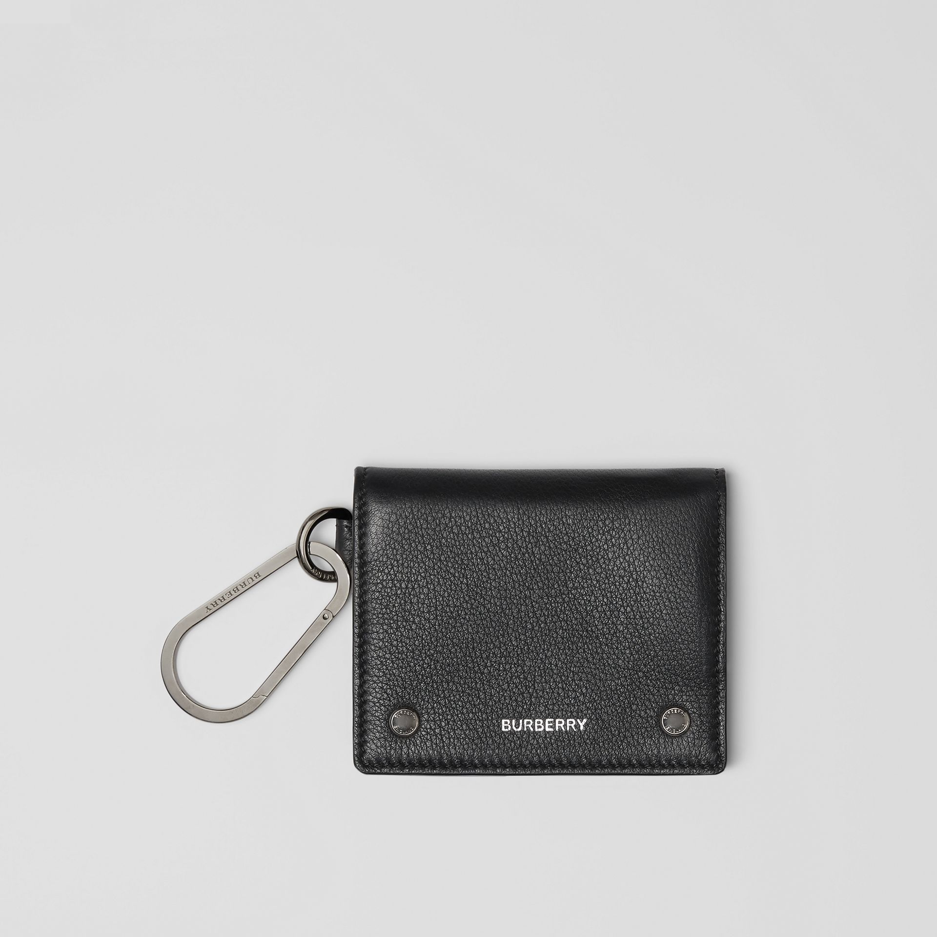 Grainy Leather Trifold Wallet in Black | Burberry - gallery image 0