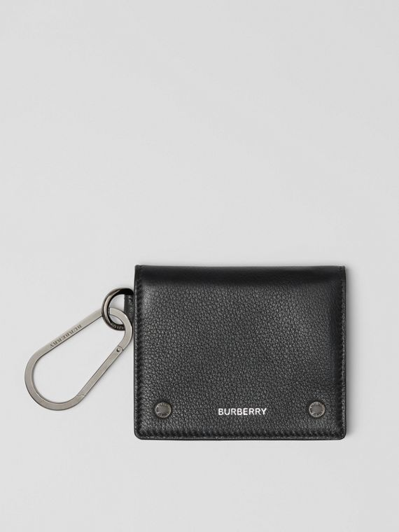 Grainy Leather Trifold Wallet in Black