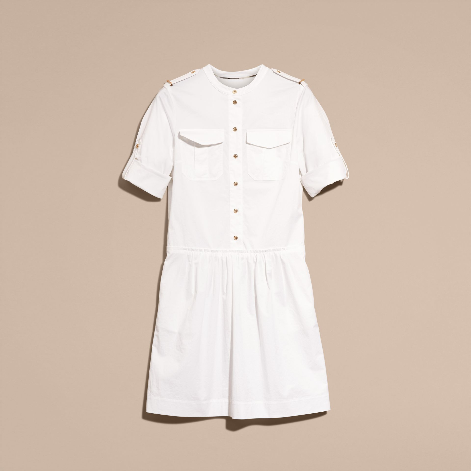 White Military-inspired Cotton Blend Shirt Dress White - gallery image 4