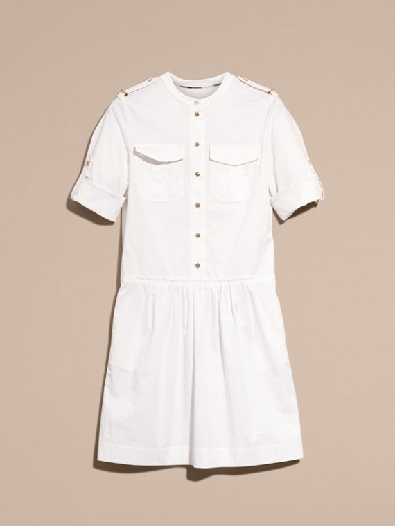 White Military-inspired Cotton Blend Shirt Dress White - cell image 3