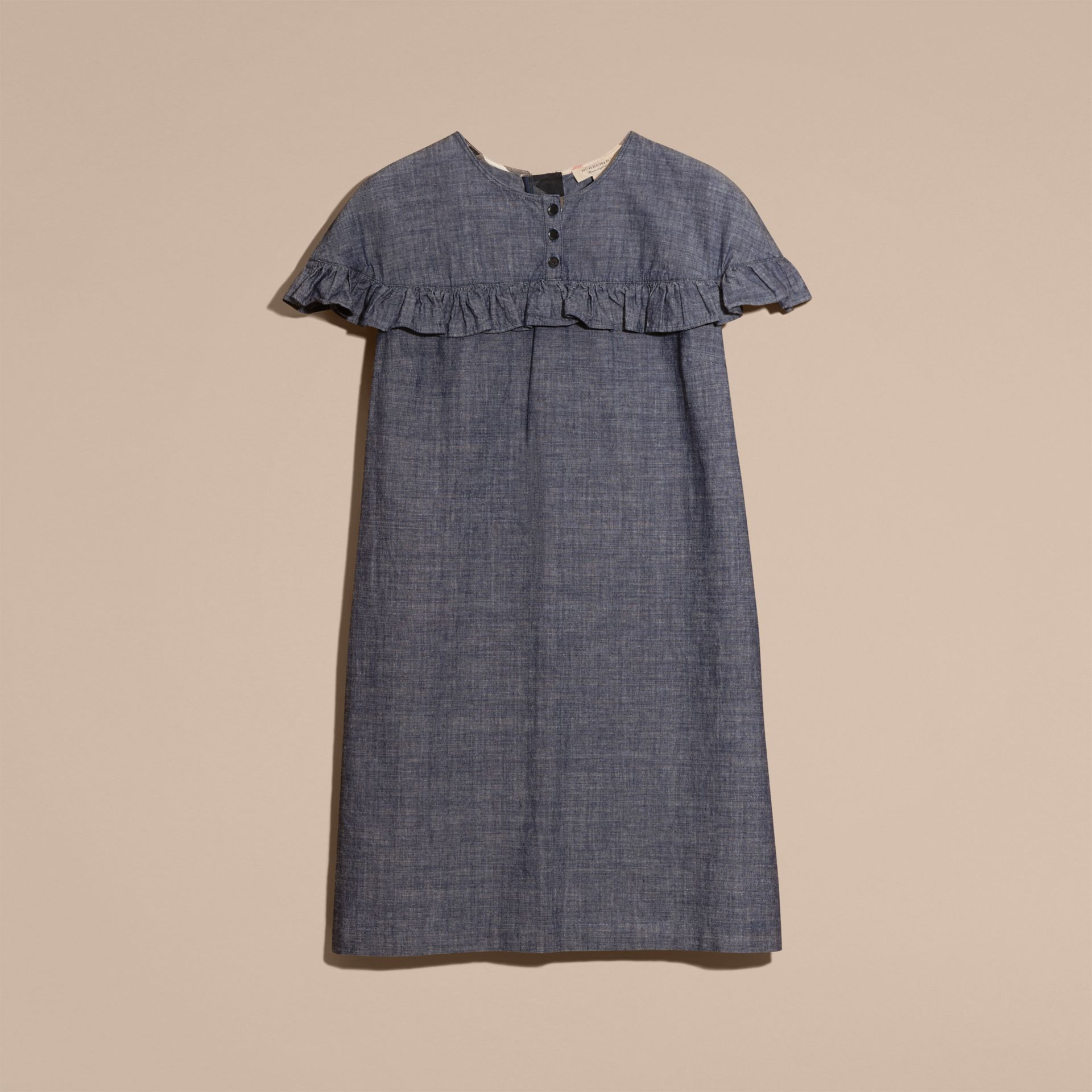 Light indigo Ruffle Trim Cotton Chambray Shift Dress - gallery image 4