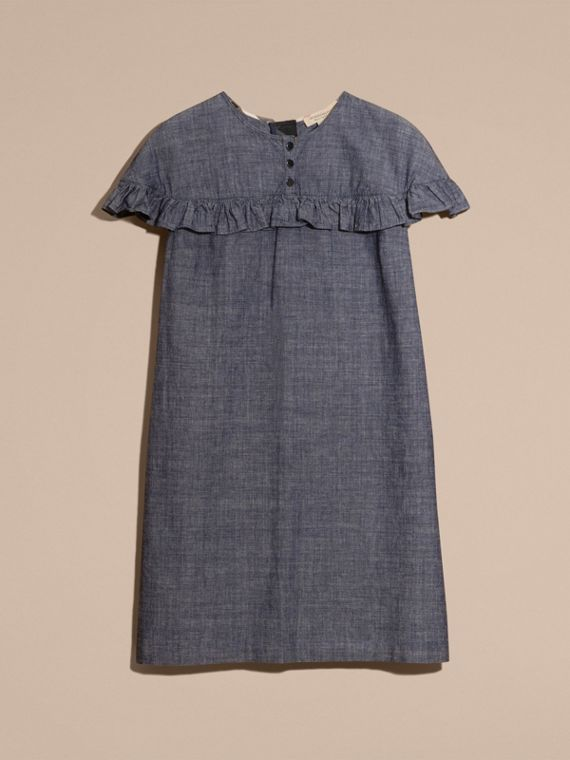 Light indigo Ruffle Trim Cotton Chambray Shift Dress - cell image 3