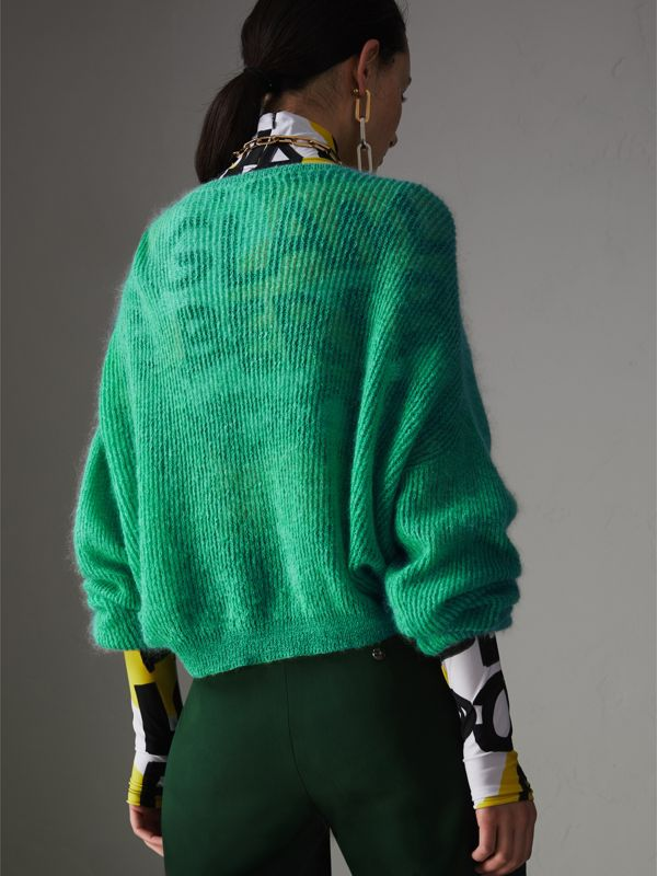 Rib Knit Mohair Silk Blend V-neck Sweater in Aqua Green - Women | Burberry - cell image 2