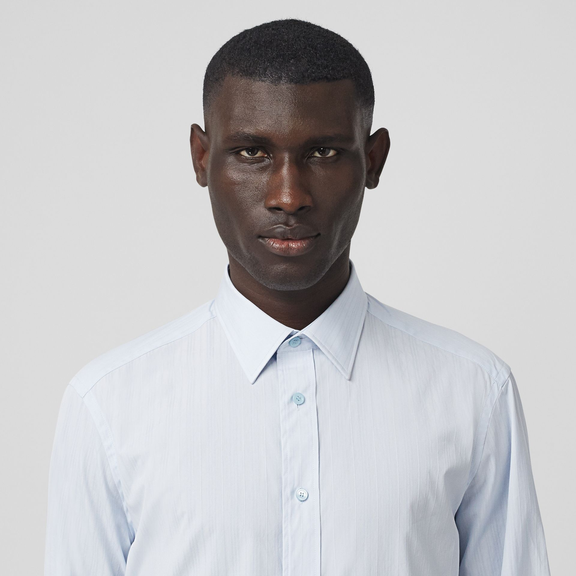 Classic Fit Striped Cotton Shirt in Pale Blue - Men | Burberry - gallery image 1