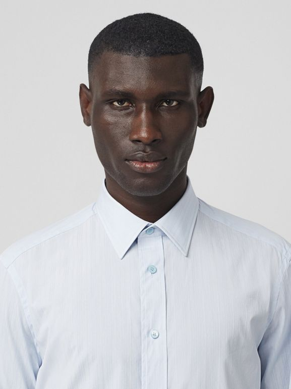 Classic Fit Striped Cotton Shirt in Pale Blue - Men | Burberry - cell image 1