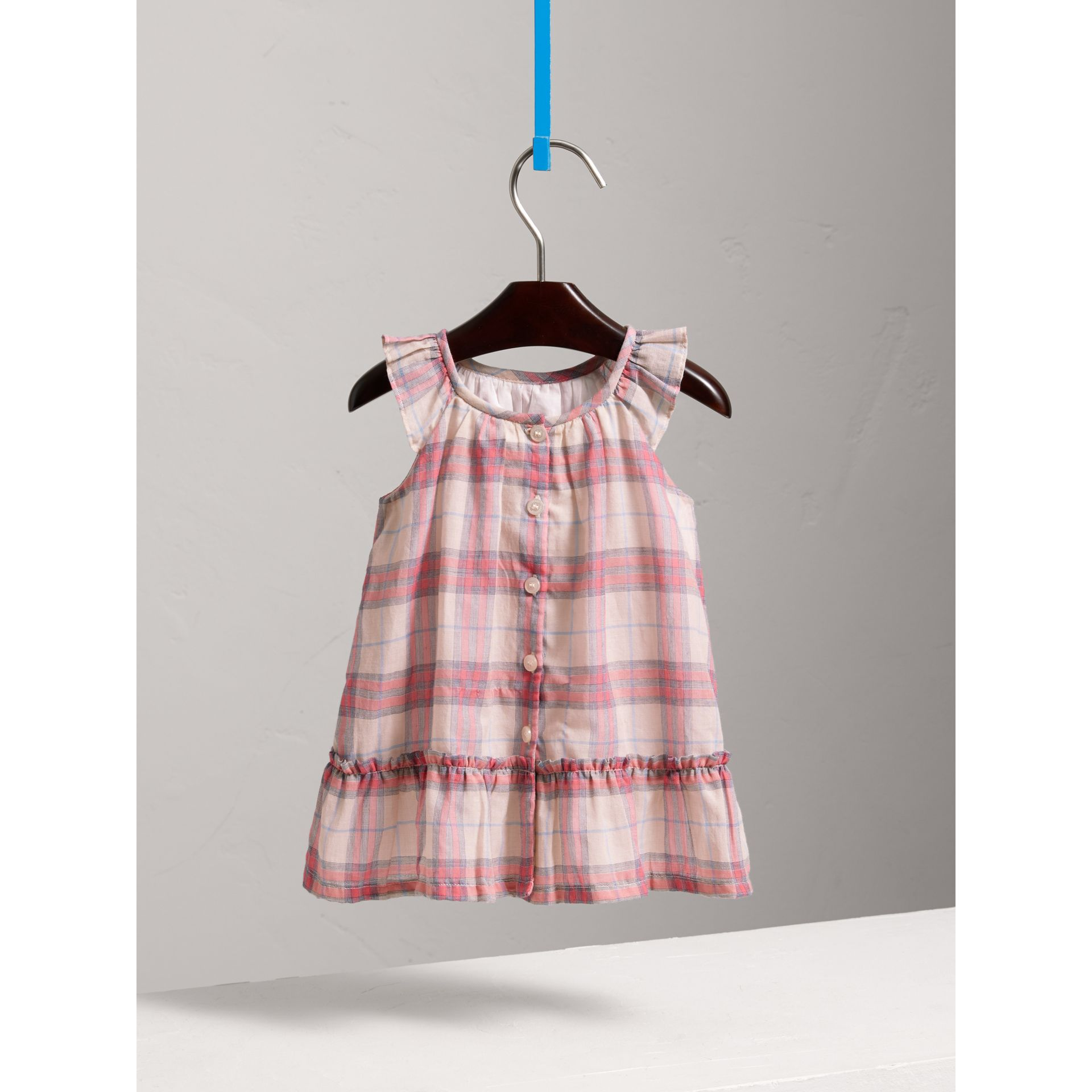 Gathered Check Cotton A-line Dress in Bright Coral Pink - Children | Burberry Singapore - gallery image 3