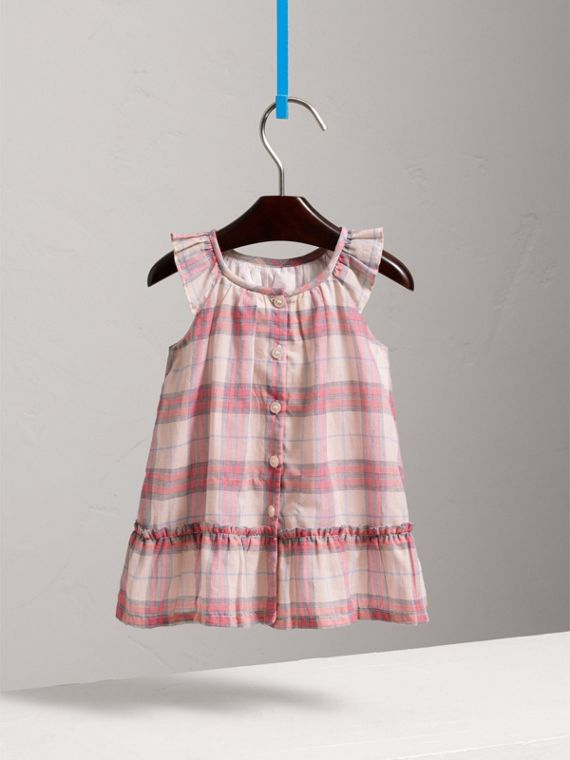Gathered Check Cotton A-line Dress in Bright Coral Pink | Burberry - cell image 3