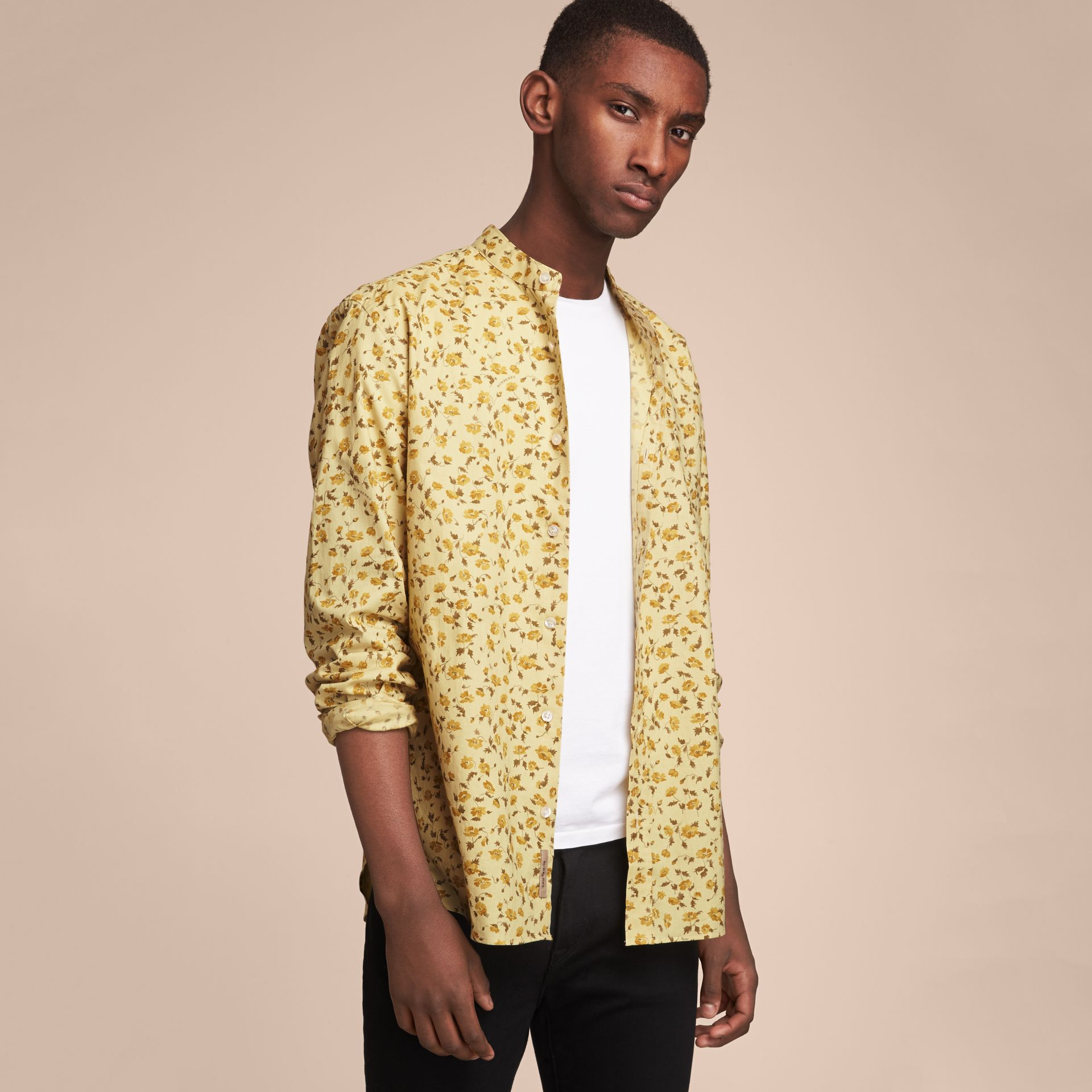 Grandad Collar Floral Print Cotton Poplin Shirt in Chalk Yellow - Men | Burberry - gallery image 6