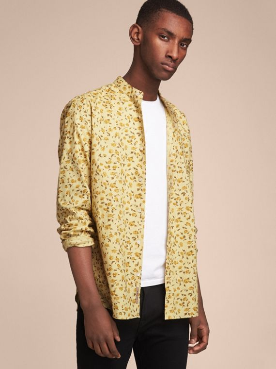 Grandad Collar Floral Print Cotton Poplin Shirt - Men | Burberry Canada