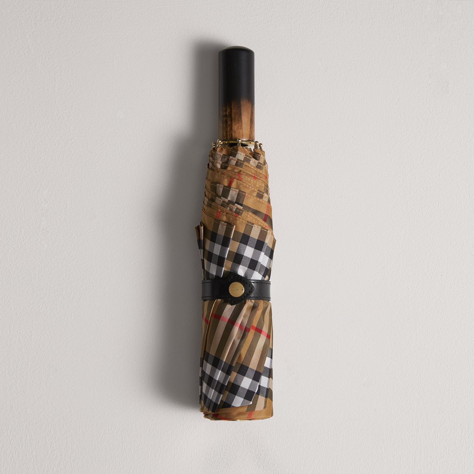 Vintage Check Folding Umbrella in Antique Yellow | Burberry Canada - gallery image 0