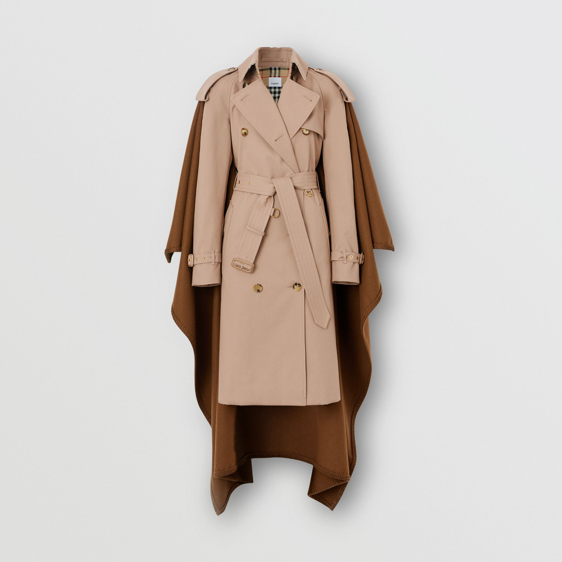 Blanket Detail Cotton Gabardine Trench Coat in Camel - Women | Burberry - gallery image 6