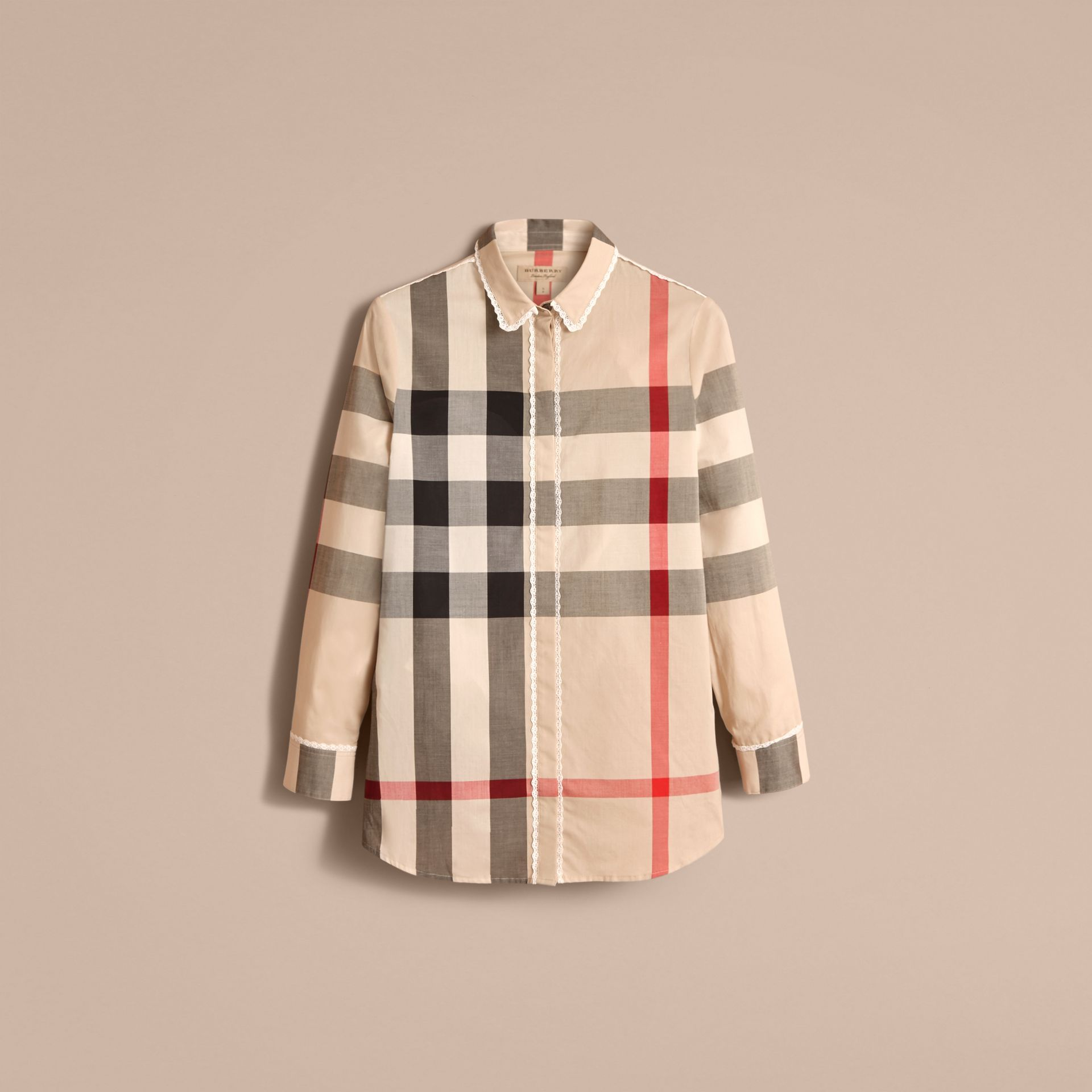 Lace Trim Check Cotton Shirt in New Classic - Women | Burberry - gallery image 4