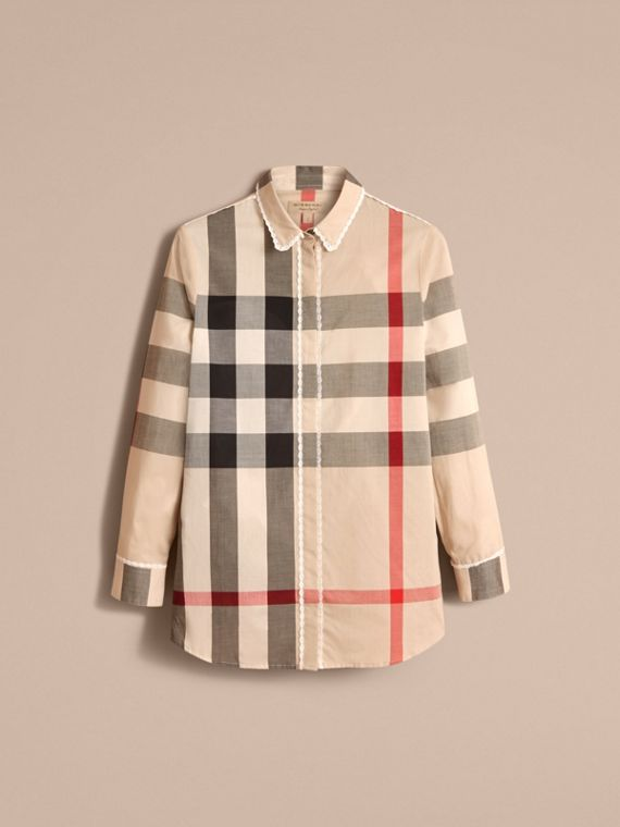 Lace Trim Check Cotton Shirt in New Classic - Women | Burberry - cell image 3