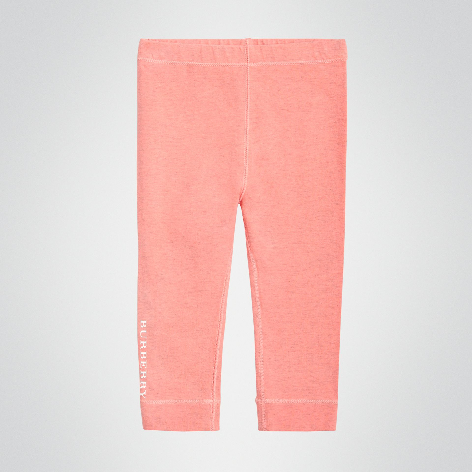Logo Print Stretch Cotton Leggings in Pale Pink - Children | Burberry Singapore - gallery image 0