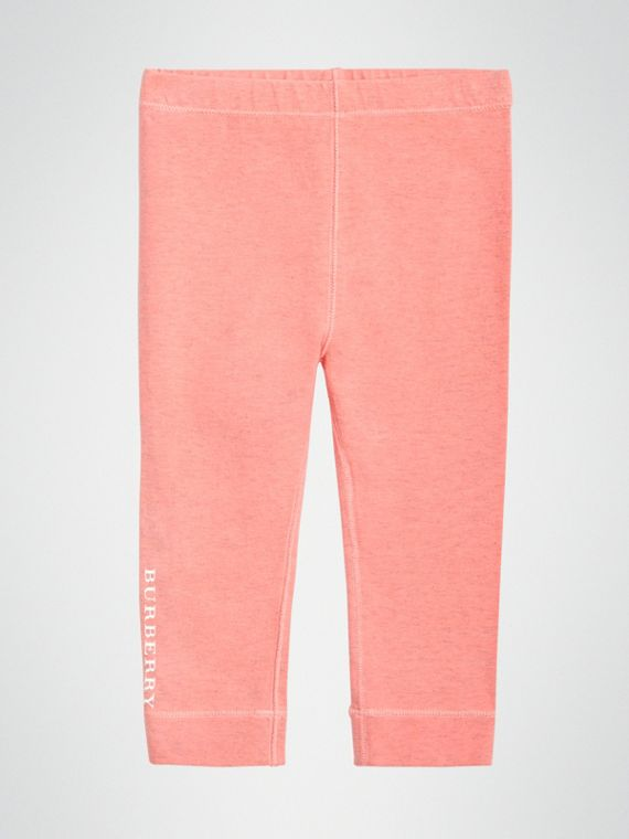Leggings in cotone stretch con logo (Rosa Pallido)