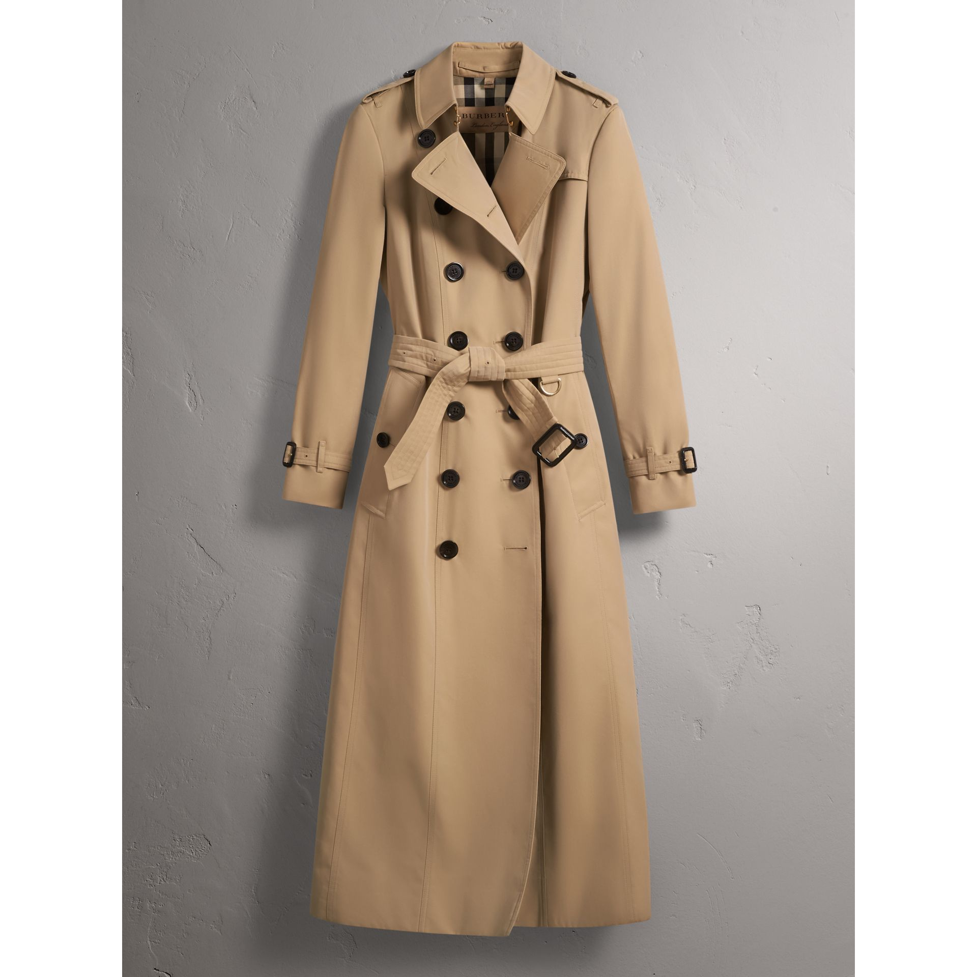 Long Cotton Gabardine Trench Coat in Honey - Women | Burberry - gallery image 4