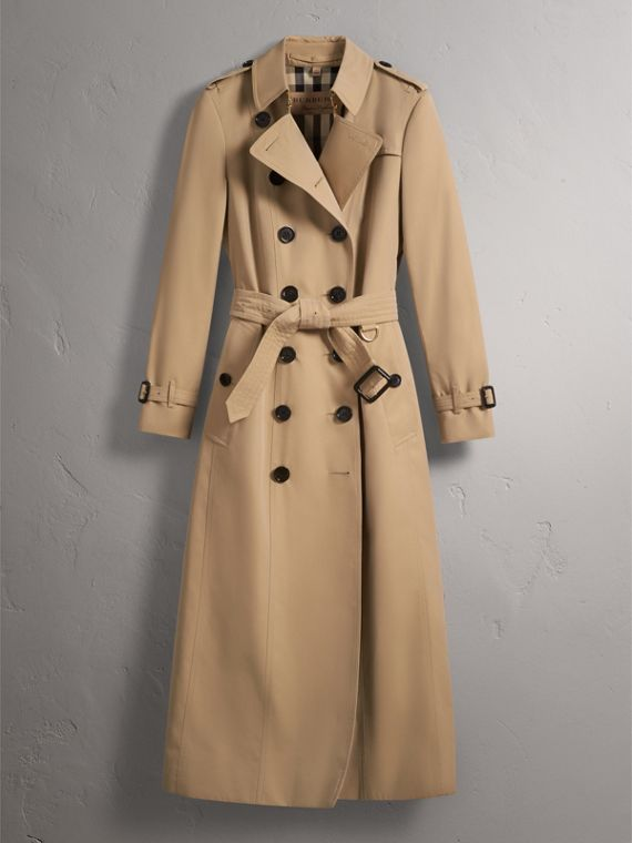 Long Cotton Gabardine Trench Coat in Honey - Women | Burberry - cell image 3