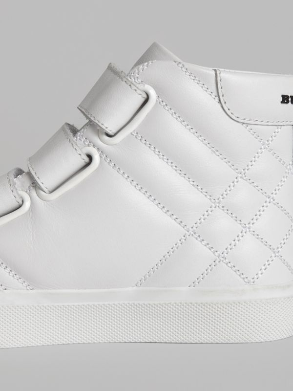 Quilted Leather High-top Sneakers in Optic White | Burberry - cell image 2