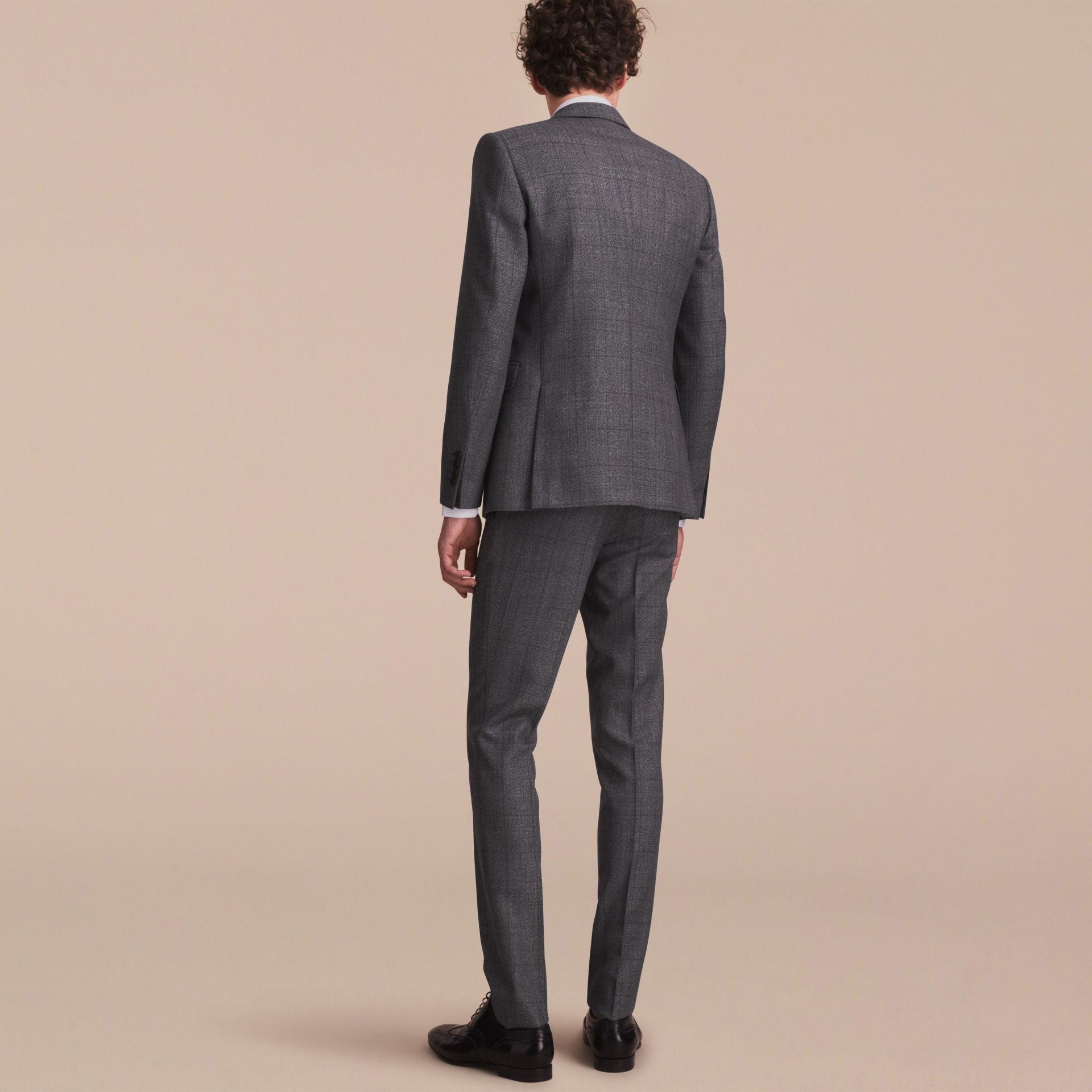 Slim Fit Check Half-canvas Wool Suit - gallery image 3