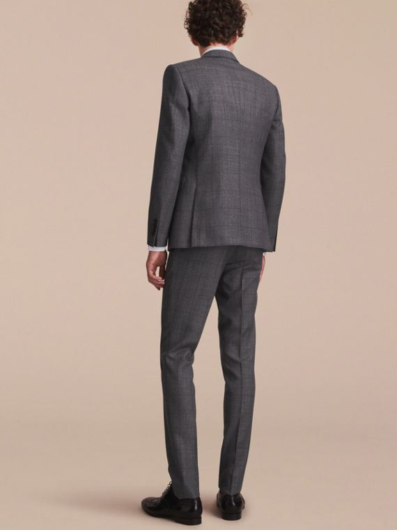 Slim Fit Check Half-canvas Wool Suit - cell image 2