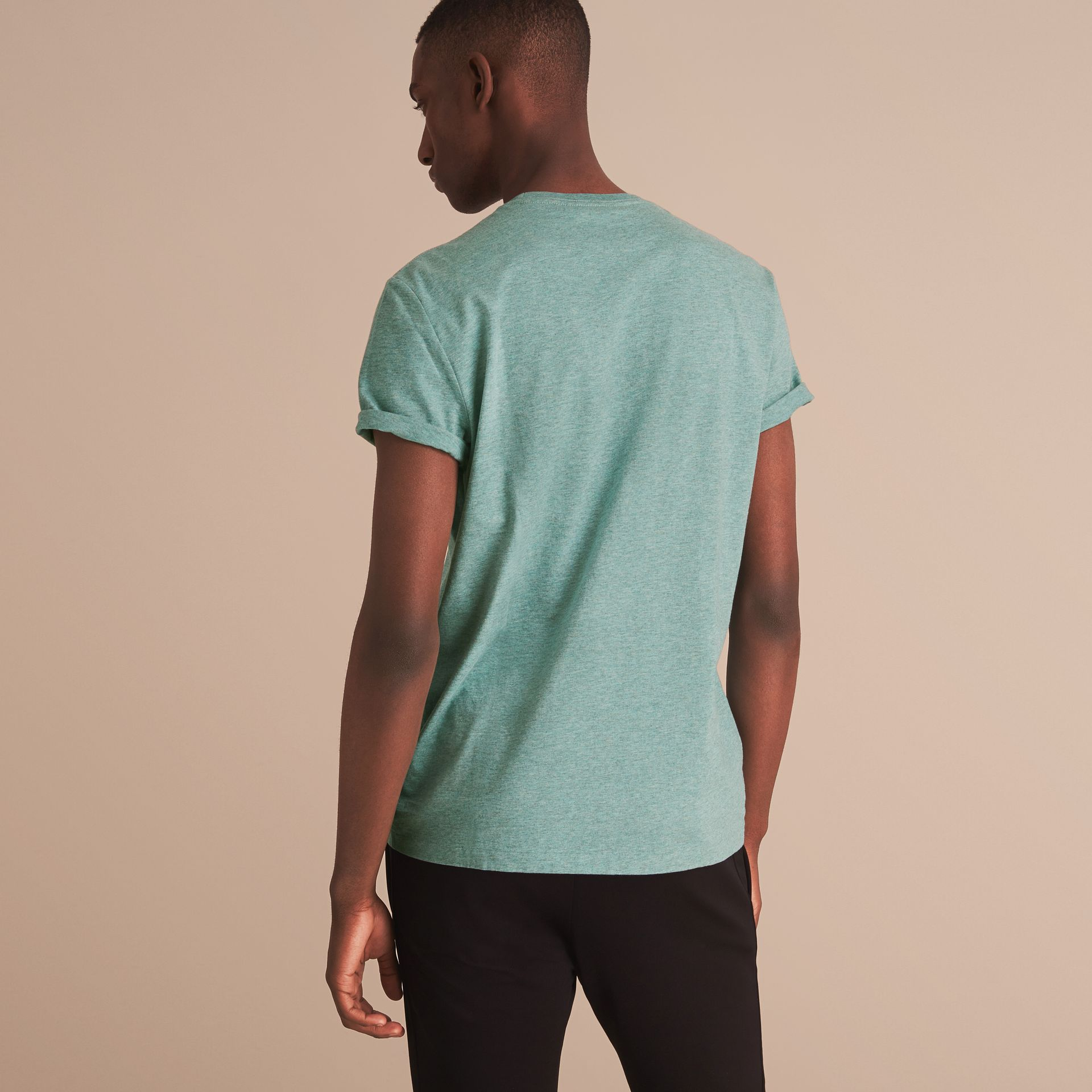 Cotton Jersey T-shirt in Storm Green Melange - Men | Burberry - gallery image 3
