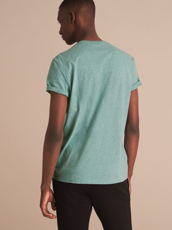 Cotton Jersey T-shirt in Storm Green Melange - Men | Burberry Singapore - cell image 2