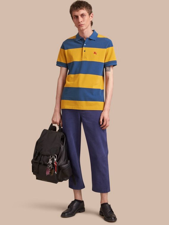 Striped Cotton Piqué Polo Shirt in Ochre Yellow/bright Navy