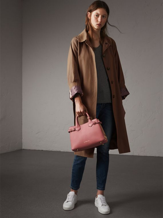 The Small Banner in Leather and House Check in Mauve Pink - Women | Burberry - cell image 2