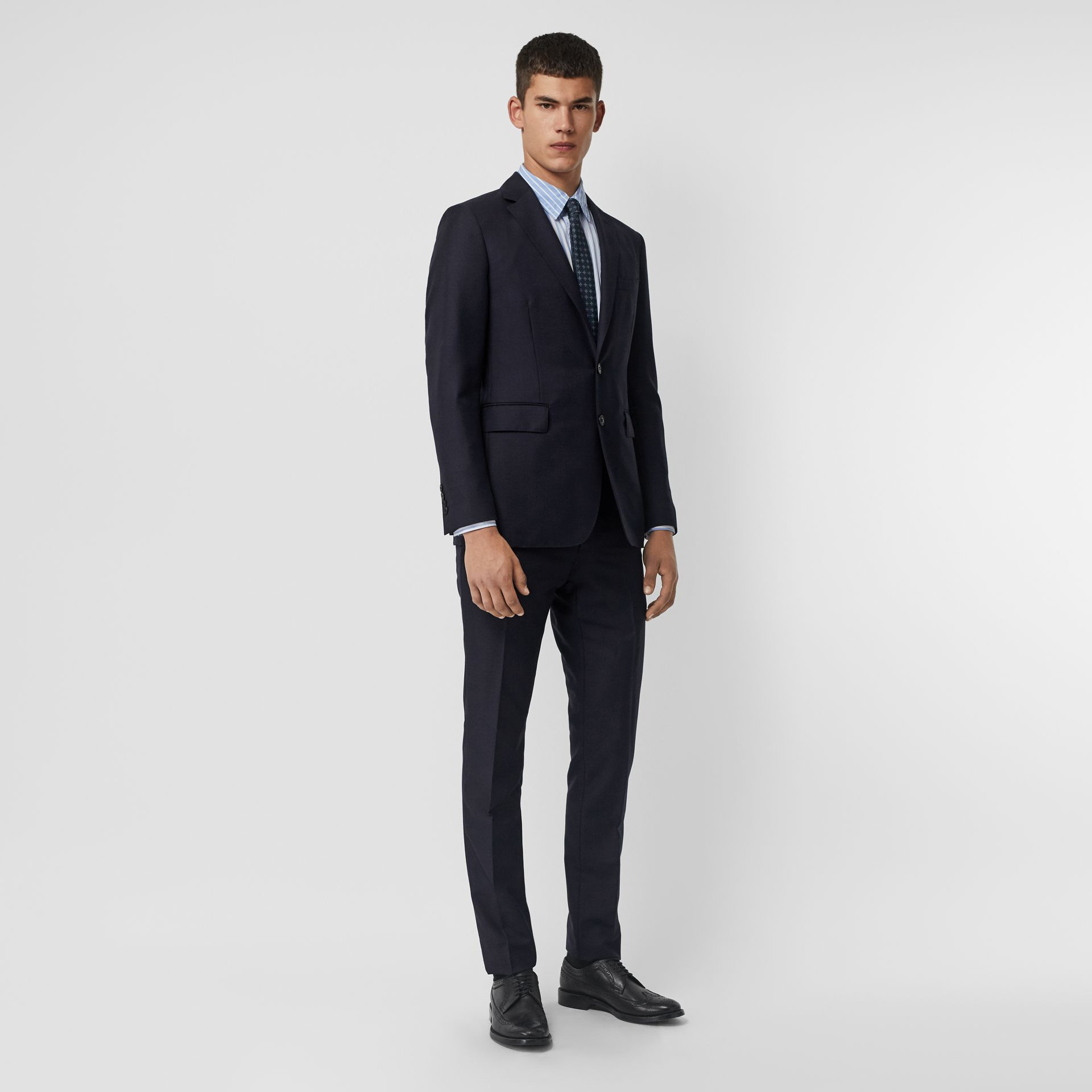 Slim Fit Wool Mohair Silk Suit in Navy - Men | Burberry Australia - gallery image 0
