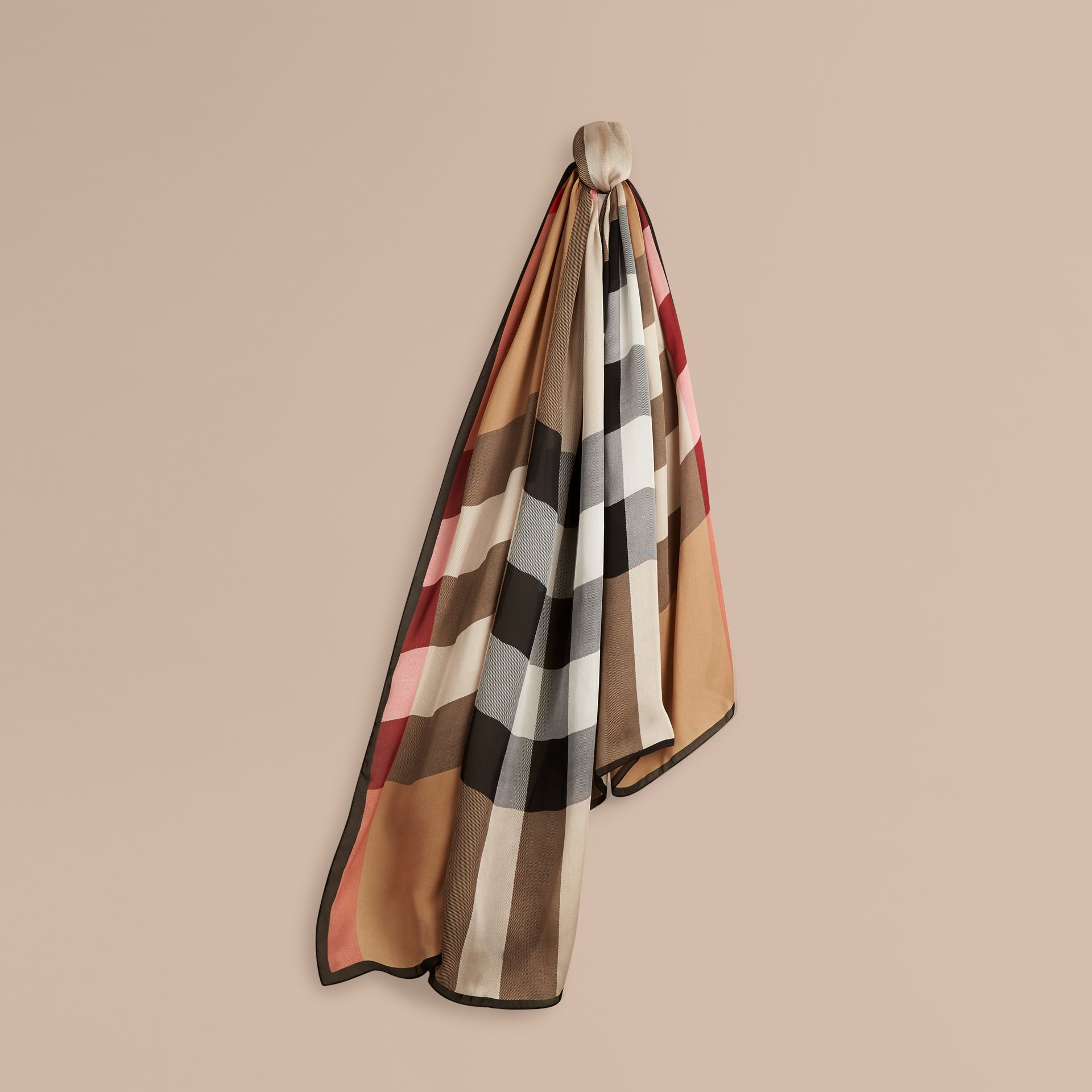 Lightweight Check Silk Scarf in Camel - gallery image 1