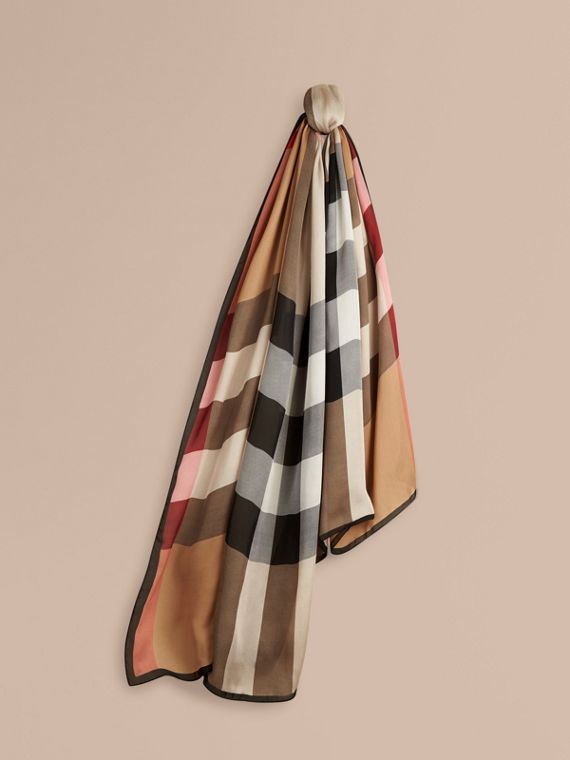 Lightweight Check Silk Scarf in Camel