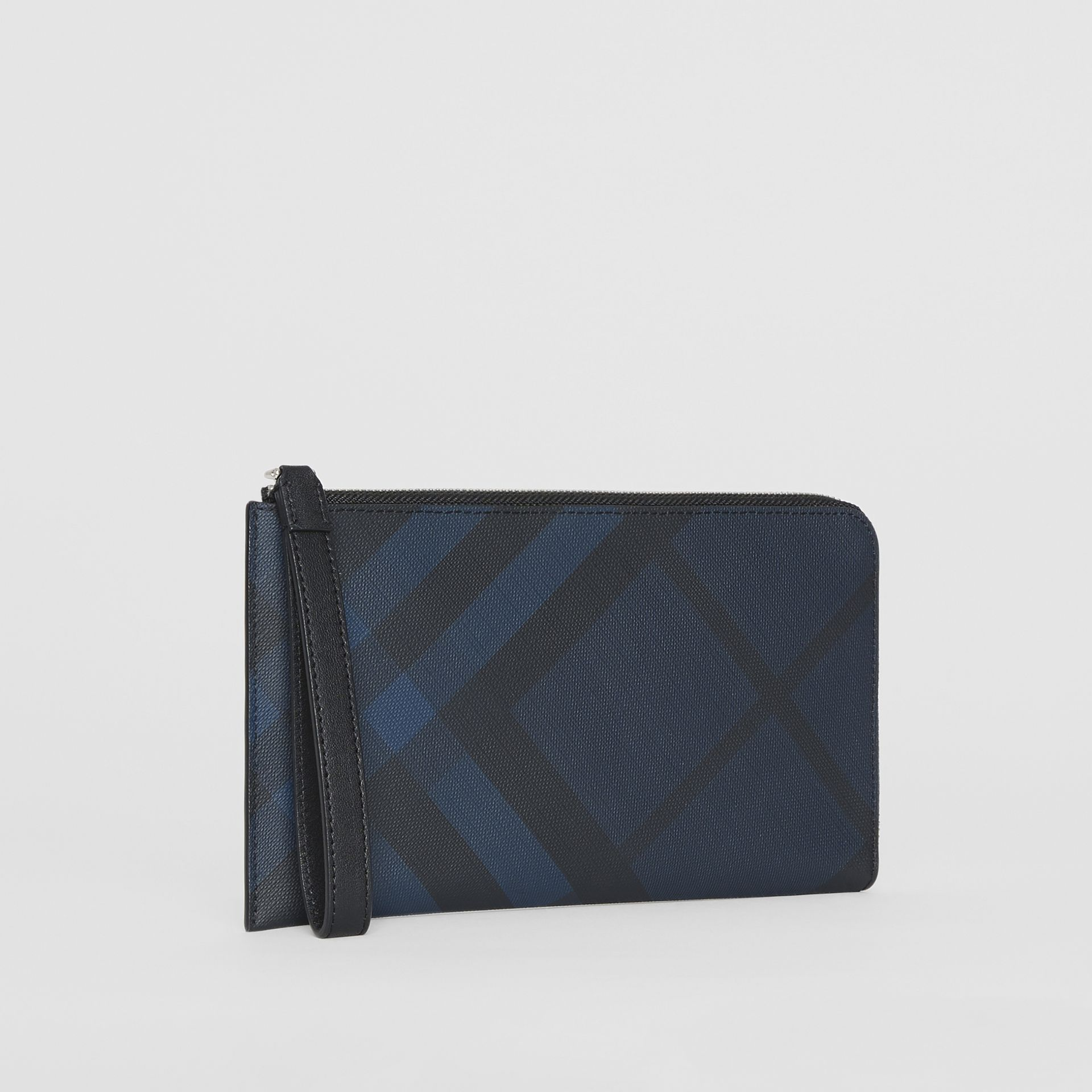 London Check and Leather Travel Wallet in Navy/black - Men | Burberry Hong Kong S.A.R - gallery image 6
