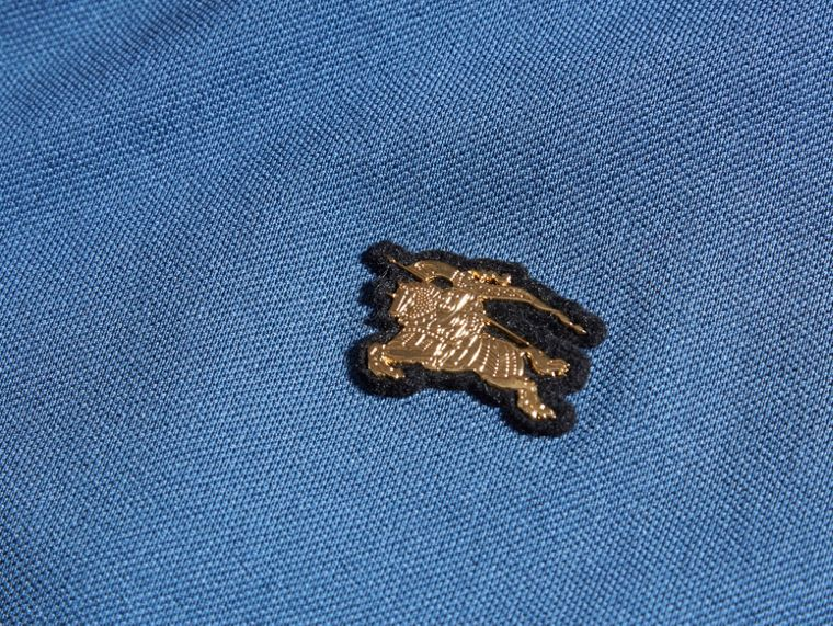 Bright steel blue Fitted Mercerised Cotton-Piqué Polo Shirt Bright Steel Blue - cell image 1
