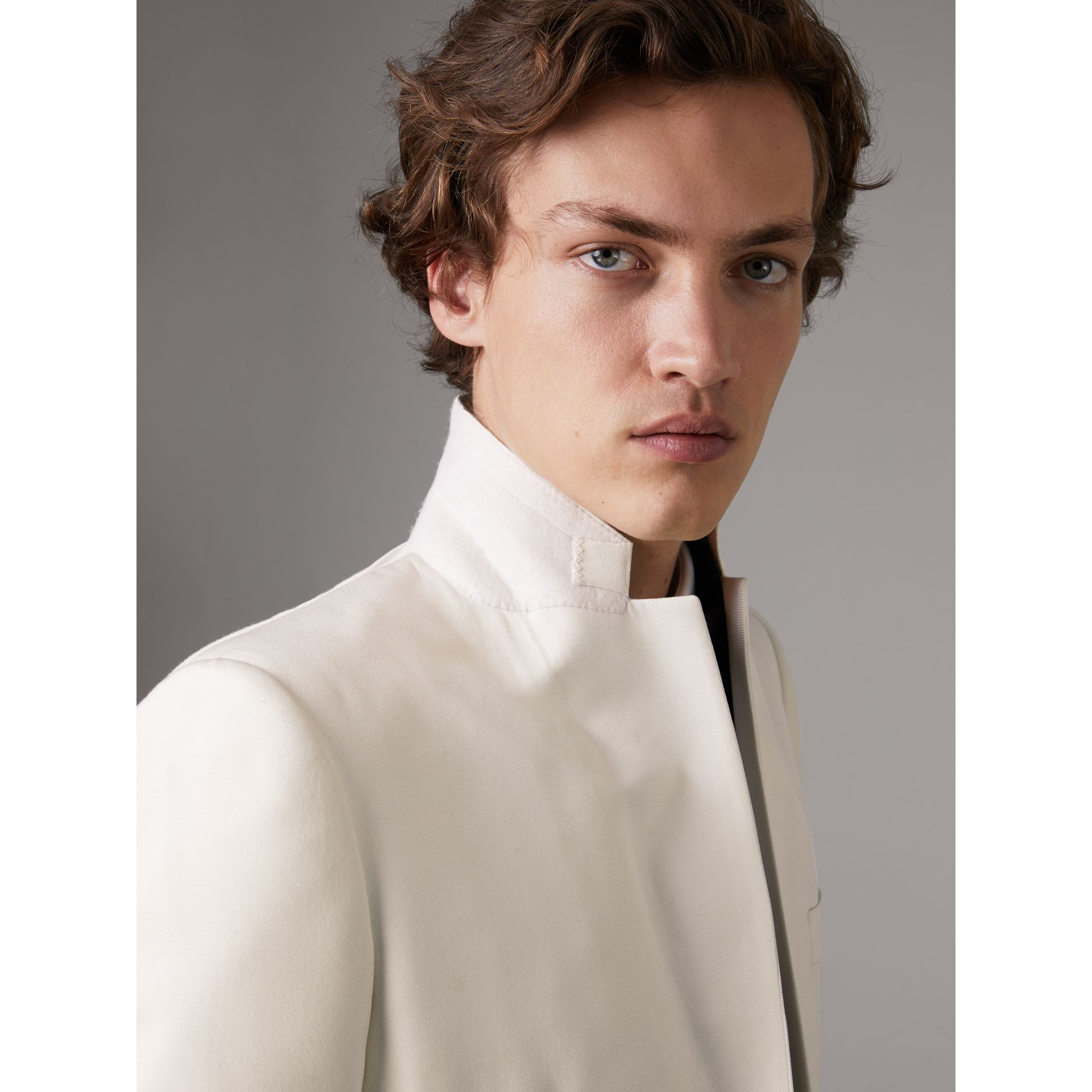 Slim Fit Silk Evening Jacket in Off White - Men | Burberry United Kingdom - gallery image 4