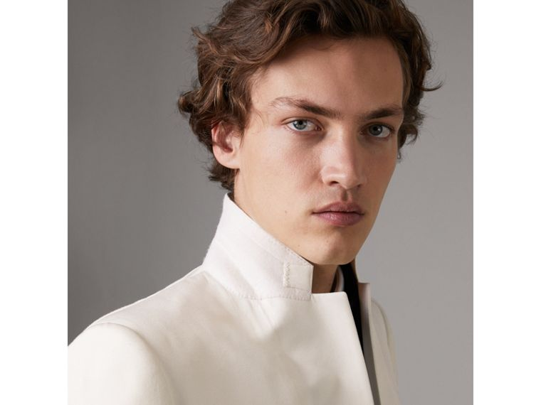 Slim Fit Silk Evening Jacket in Off White - Men | Burberry - cell image 4