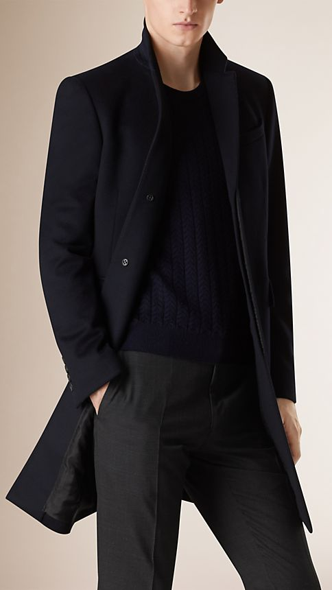 Navy Wool Cashmere Topcoat Navy - Image 1