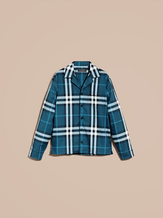 Check Cotton Pyjama-style Shirt in Cadet Blue - cell image 3